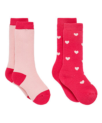 Pink Heart And Colourblock Thermal Welly Socks - 2 Pack