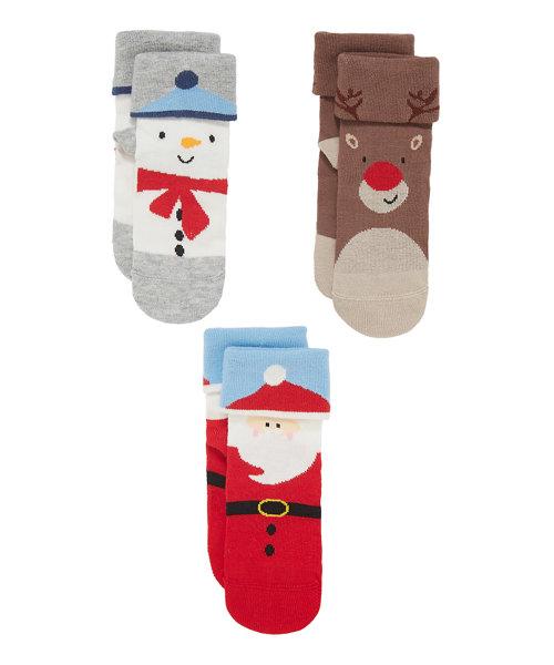 Festive Turn Over Top Socks - 3 Pack