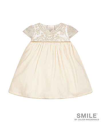 Smile By Julien Macdonald - Cream And Gold Embroidered Dress
