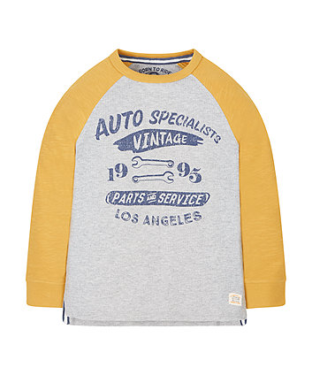 Grey And Yellow Auto Specialists Waffle T-Shirt