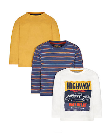 Mustard, Stripe And Car Print T-Shirts - 3 Pack