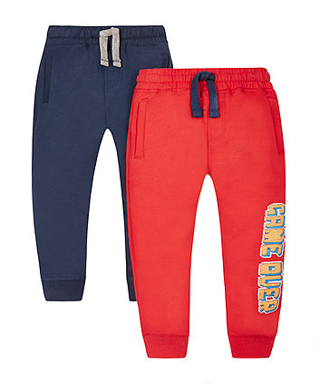 Navy And Red Game Over Joggers - 2 Pack