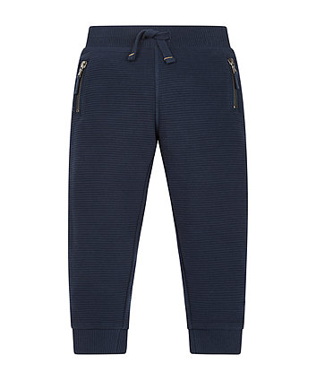 Navy Ribbed Joggers