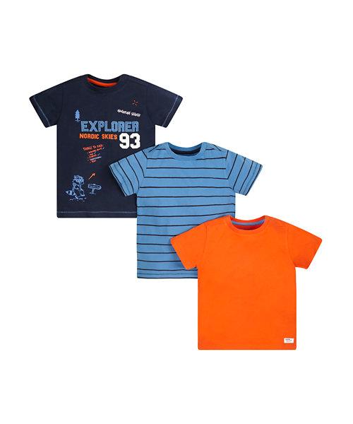 Explorer, Orange And Stripe T-Shirts - 3 Pack