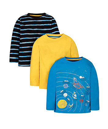 Space, Yellow And Striped T-Shirts - 3 Pack