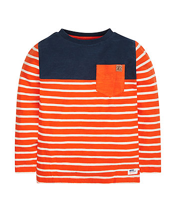 Navy And Orange Stripe Slub T-Shirt