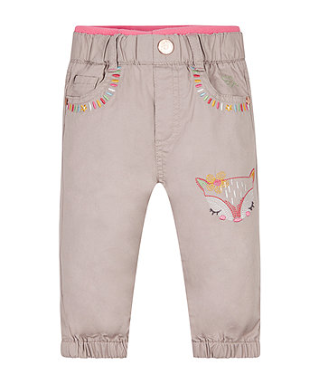 Putty Embroidered Trousers
