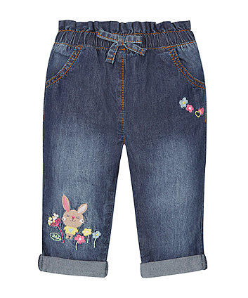 Mid Wash Embroidered Jeans