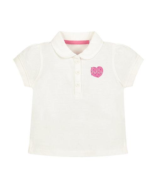 White Pique Polo T-Shirt
