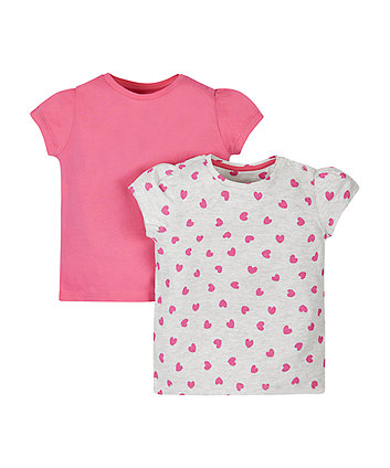 Grey And Pink Heart T-Shirts - 2 Pack