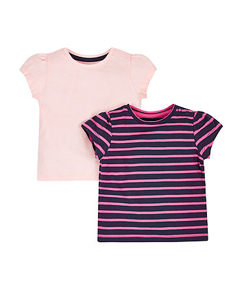 Navy Stripe And Pink T-Shirts - 2 Pack