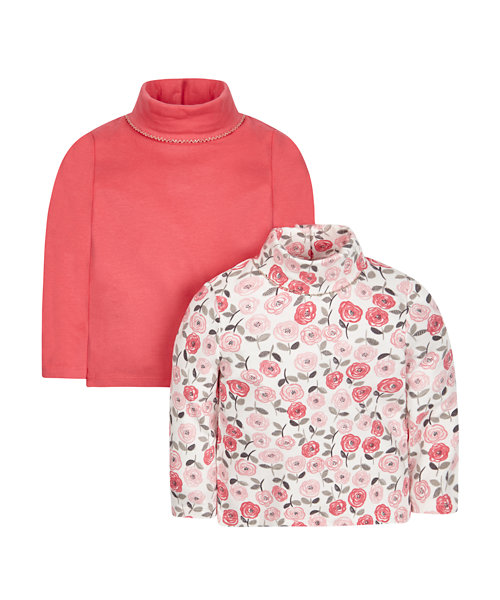 Pink And Floral Roll Necks - 2 Pack