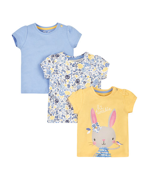 Bunny And Floral T-Shirts - 3 Pack