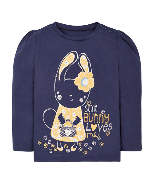 Navy Bunny Love Long Sleeve T-Shirt