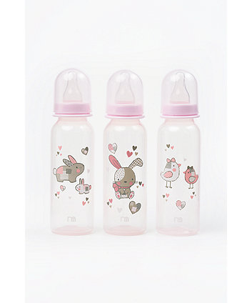 Mothercare Standard Baby Bottles 260ml - Pink (3 Pack)
