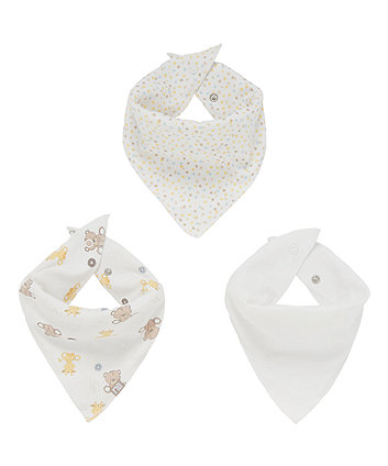 Mothercare Teddy'S Toy Box Dribbler Bibs - 3 Pack