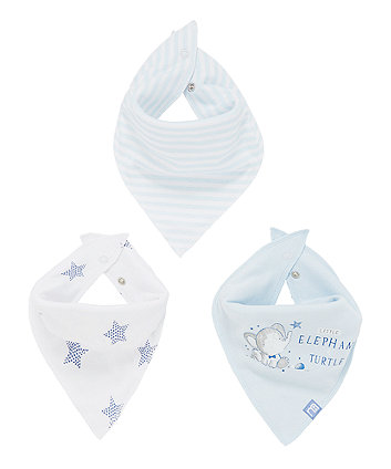 Mothercare Elephant And Turtle Dribbler Bibs - 3 Pack