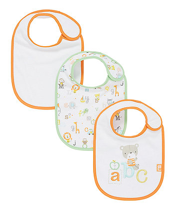 Mothercare Newborn Abc Jungle Bibs - 3 Pack