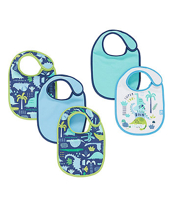 Mothercare Newborn Dinosaur Bibs - 5 Pack