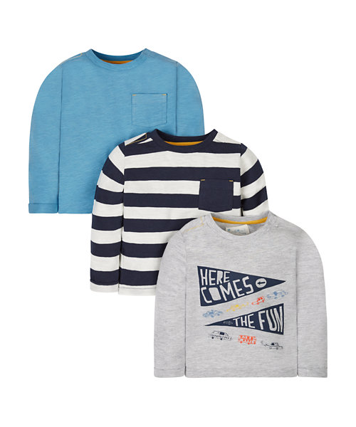 Grey, Stripe And Blue T-Shirts - 3 Pack