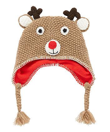 Festive Reindeer Trapper Hat