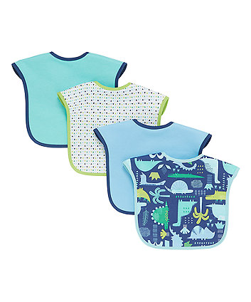Mothercare Dinosaur Toddler Bibs - 4 Pack