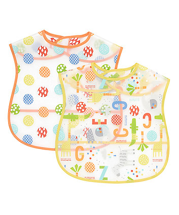Mothercare Hello Friend Toddler Crumbcatcher Bibs - 2 Pack