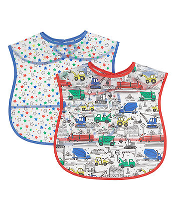 Mothercare Build It Up Toddler Crumbcatcher Bibs - 2 Pack
