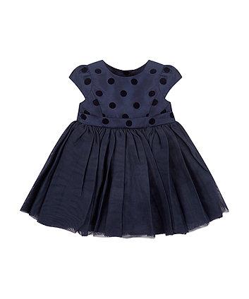 Navy Blue Spot Party Dress