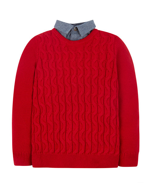 Red Mock-Layer Jumper