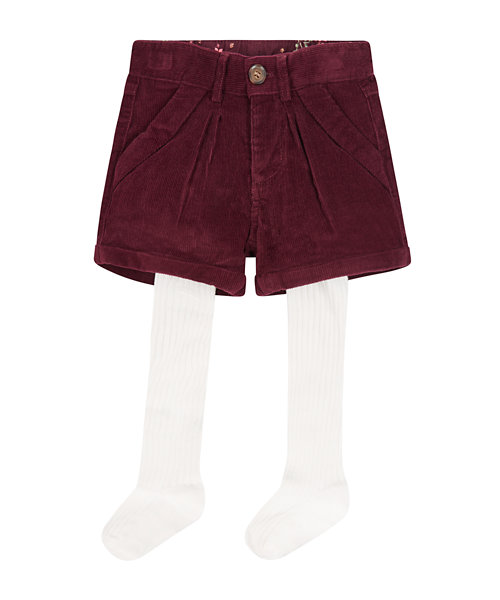 Burgundy Cord Shorts With Tights
