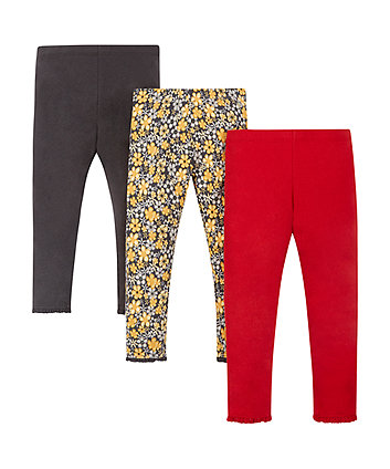 Floral, Red And Grey Leggings - 3 Pack