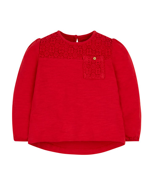 Red Broderie Top