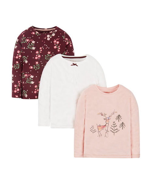Pink Deer, White And Floral T-Shirts - 3 Pack