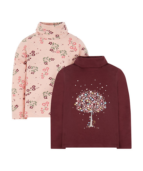 Floral Roll Neck T-Shirts - 2 Pack