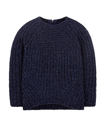 Navy Chenille Knit Jumper