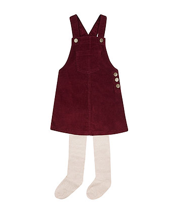 Burgundy Cord Pinny With Tights