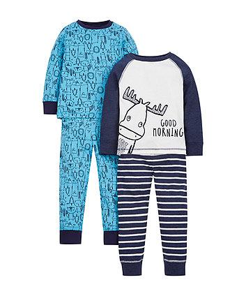 Moose Pyjamas - 2 Pack