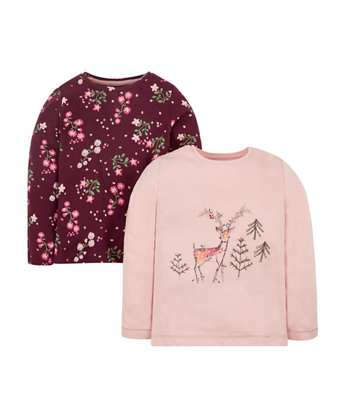 Pink Deer And Floral T-Shirts - 2 Pack