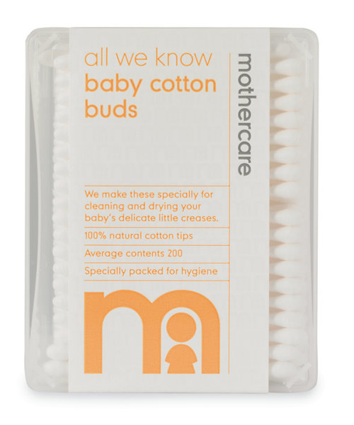 Mothercare All We Know Baby Cotton Safety Buds - 200 Pack
