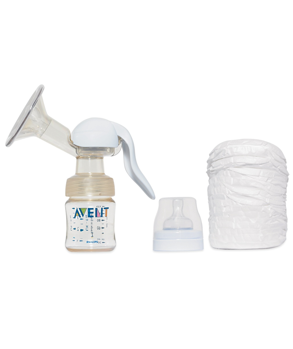 Philips AVENT PES manual breast pump with AVENT disposable breast pads