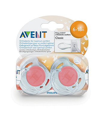 Philips Avent Orthodontic Classic 6-18 month Soothers - 2 Pack