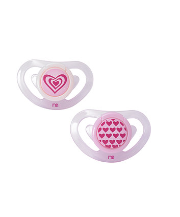 Mothercare Pink Hearts Airflow Soothers (3-6 months)