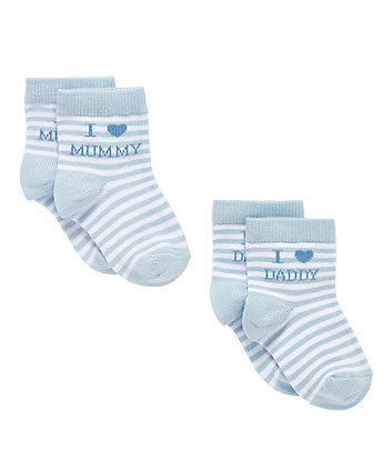 Mothercare I Love Mummy And Daddy Blue Socks  - 2 Pack