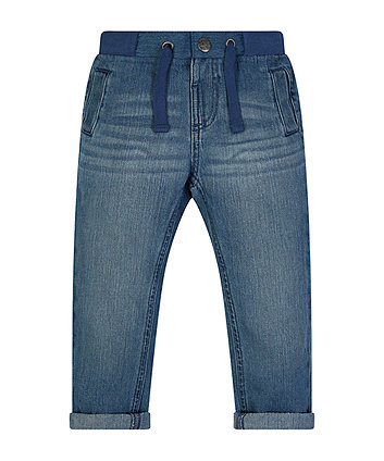 Mothercare Light Wash Ribwaist Jeans