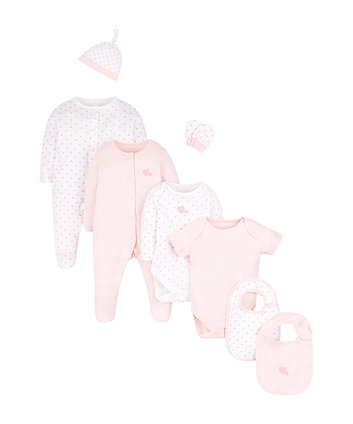 Mothercare Pink Hearts Eight Piece Starter Set