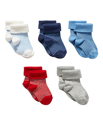 Mothercare Bright Stripe Turn-Over-Top Socks - 5 Pack