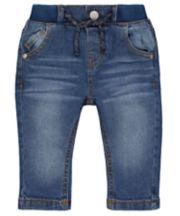 Rib Waist Mid-Wash Denim Jeans