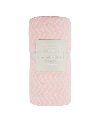 Mothercare Welcome Home Chevron Knitted Blanket - Pink
