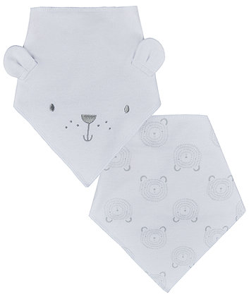 Mothercare 3D Bear Dribbler Bibs - 2 Pack